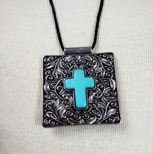 Jewelry - Turquoise Cross and Silver Pendant Necklace